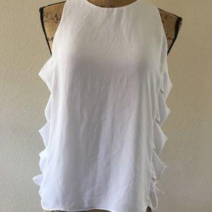 BCBG Maxazria solid white lightweight blouse